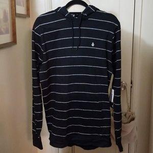 VOLCOM black white stripe hoodie